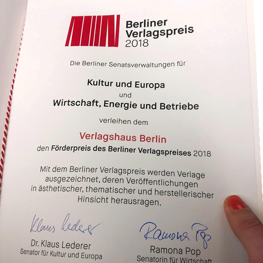 Verleihung des ersten Berliner Verlagspreises